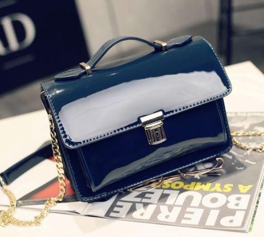 Лаковая женская сумка тёмно-бирюзовая