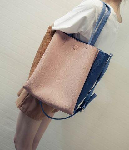 Женская сумка синий с розовым