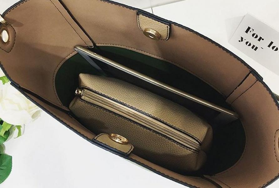 Женская сумка бежевый с зеленым