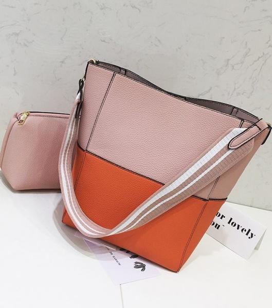 Женская сумка оранжевый с розовым