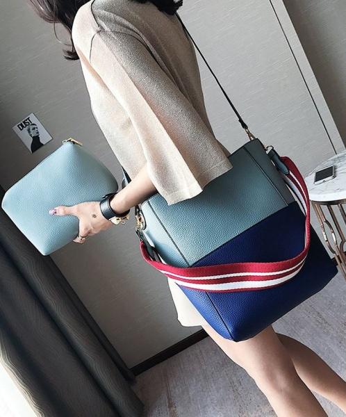 Женская сумка голубая с синим