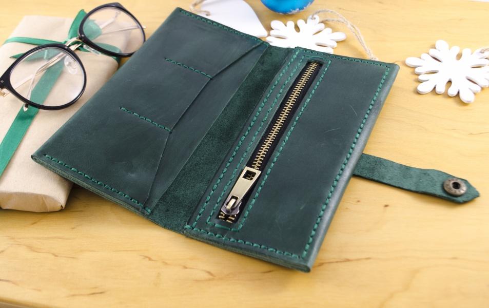 Женский кожаный кошелек зеленый FM0717B