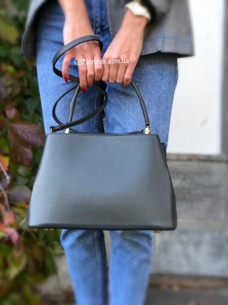 1e104cf46324 Кожаная женская сумка темно-серая FM0794A купить дешево с доставкой ...