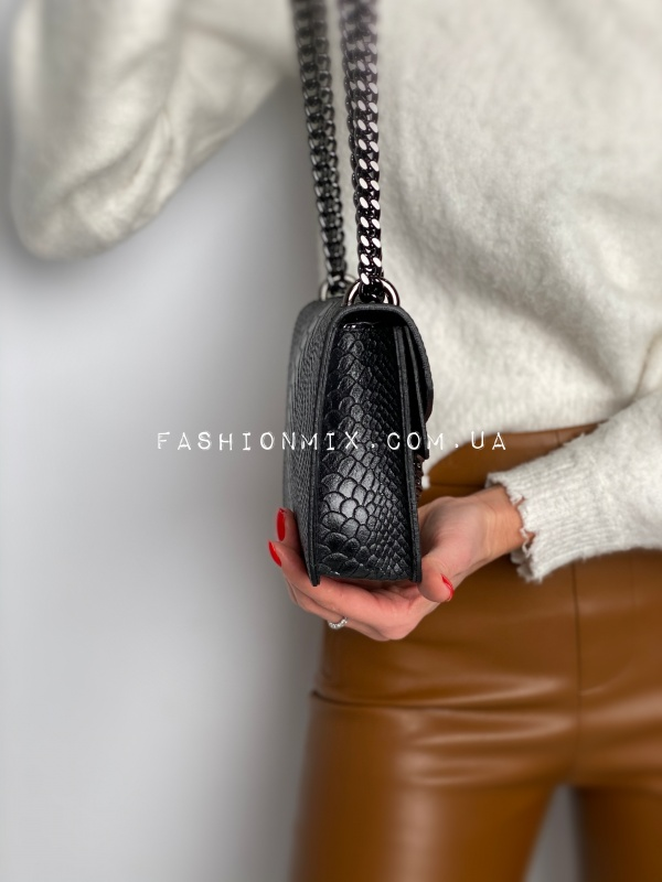 Сумка женская черная кожаная FM0825A